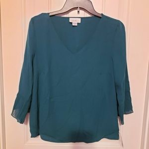 NWT Green V-neck Blouse